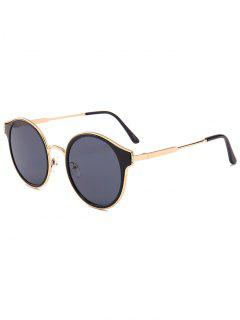 Metal Full Frame Cat Eye Round Sunglasses - Gold Frame + Black Lens