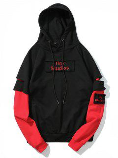 Ripped Underlay Sleeve Patch Design Hoodie - Black M