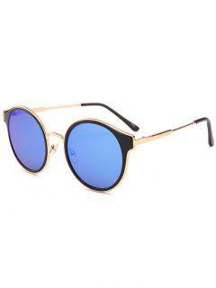 Metal Full Frame Cat Eye Round Sunglasses - Blue