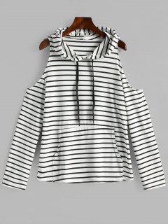 Cold Shoulder Striped Kangaroo Hooded Tee - White L