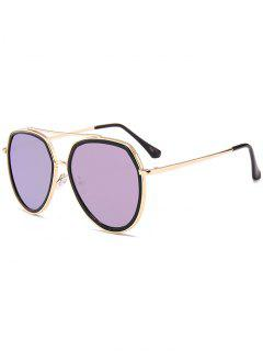 Metal Bar Decorated Sun Shades Pilot Sunglasses - Purple