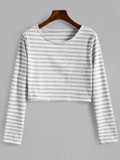 T-shirt Court Rayé à Col Rond - Gris Xl