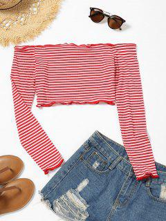 Lettuce Trim Off The Shoulder Striped Crop Top - Red With White M