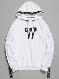 Letter Embroidered Ribbon Hoodie - White L