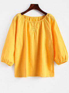 Rundkragen Bluse Mit Drei Vierteln - Gelb M
