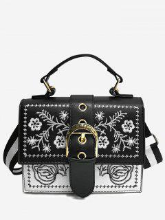 Flower Embroidery Color Blocking Buckled Crossbody Bag - Black