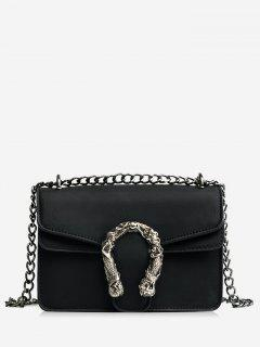 Metal Embellished Chain Flap Crossbody Bag - Black