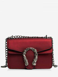 Metal Embellished Chain Flap Crossbody Bag - Red