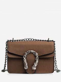 Metal Embellished Chain Flap Crossbody Bag - Brown