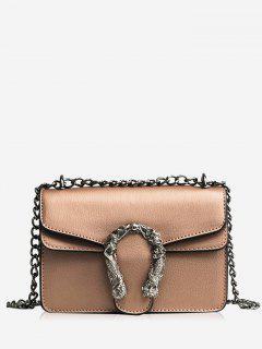 Metal Embellished Chain Flap Crossbody Bag - Khaki