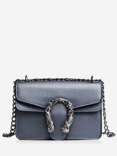 Metal Embellished Chain Flap Crossbody Bag - Grey Blue