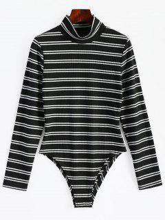 High Neck Striped Long Sleeve Bodysuit - Black M
