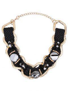 Vintage Alloy Faux Crystal Crochet Necklace - Black