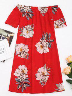 Robe Droite Imprimée Florale à épaules Dénudées - Rouge Xl