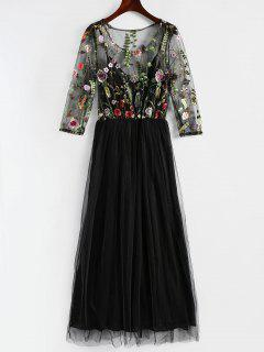 Floral Embroidered Mesh Overlay Dress - Black S