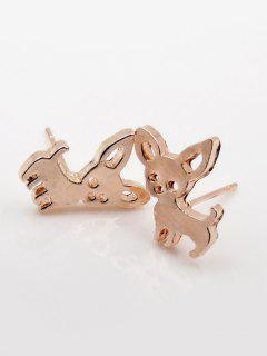 Puppy Shape Metal Stud Earrings - Rose Gold