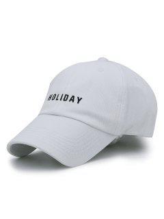 HOLIDAY Embroidery Adjustable Baseball Cap - White