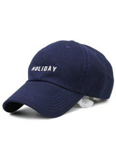 HOLIDAY Embroidery Adjustable Baseball Cap - Deep Blue