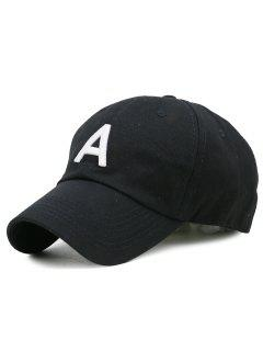 Letter A Embroidery Adjustable Baseball Cap - Black