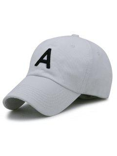 Letter A Embroidery Adjustable Baseball Cap - White