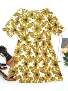 Round Collar Floral Print Mini Dress - Yellow Xl
