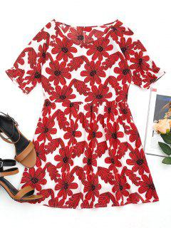 Round Collar Floral Print Mini Dress - Red M