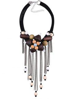 Vintage Rhinestone Fringed Wooden Beaded Necklace - Black