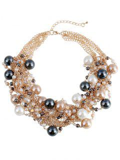 Artificial Pearl Beads Charm Necklace