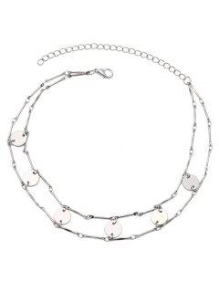 Hollow Out Layered Paillette  Choker Necklace - Silver