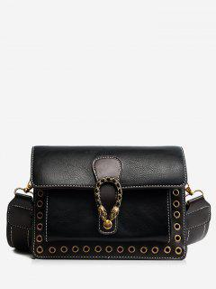 Eyelets Faux Leather Crossbody Bag - Black