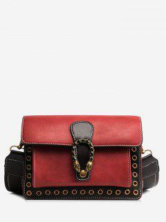 Eyelets Faux Leather Crossbody Bag - Red