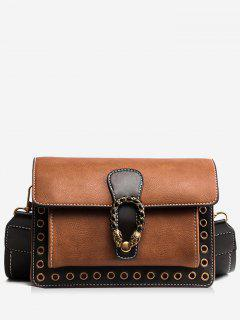 Eyelets Faux Leather Crossbody Bag - Brown