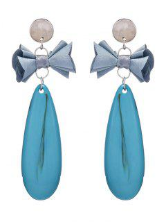 Faux Gem Teardrop Bows Earrings - Blue
