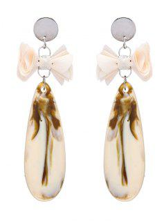 Faux Gem Teardrop Bows Earrings - Beige