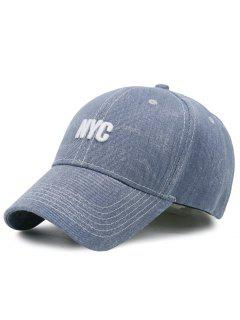 Unique NYC Pattern Washed Baseball Cap - Light Blue