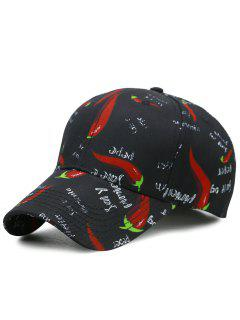 Funny Pepper Pattern Embellished Baseball Cap - Black