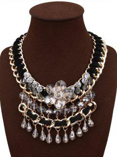 Faux Crystal Teardrop Beaded Chain Necklace - Black