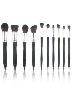 10 Pièces Ensemble De Pinceaux à Maquillage En Fibre Ultra-Douce Avec Manches Style Micro - Argent