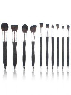 10Pcs Ultra Soft Fiber Hair Microphone Makeup Brush Set - Silver