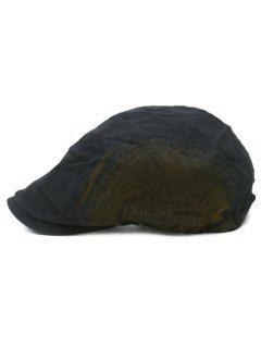 Gradient Color Pattern Adjustable Cabbie Hat - Black