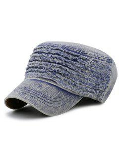 Simple Adjustable Washed Denim Military Hat - Light Blue