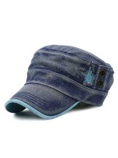 Simple Star Pattern Decorated Washed Military Hat - Blue