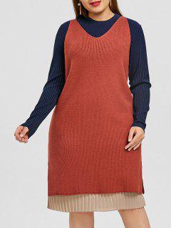 Robe Plissée Grande Taille Avec Un Pull Débardeur - Orange 5xl