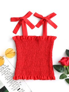 Tied Straps Smocked Tank Top - Red S