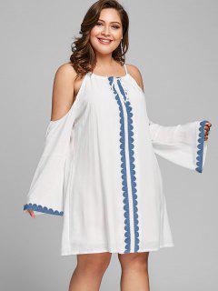 Robe Droite à épaule Froide Et Grande Taille - Blanc 5xl
