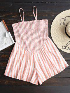 Wide Leg Smocked Stripes Romper - Stripe L
