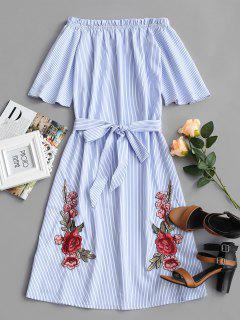 Striped Floral Patched Belted Dress - Blue M