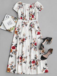 Off Shoulder Floral Print Button Up Dress - Floral S
