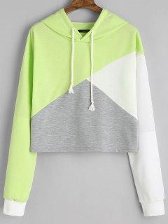 Contrast Drawstring Drop Shoulder Hoodie - Light Green M