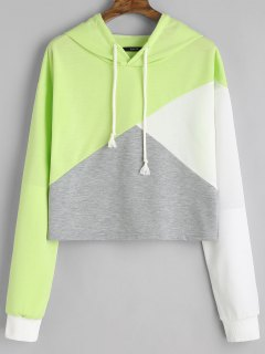 Contrast Drawstring Drop Shoulder Hoodie - Light Green L